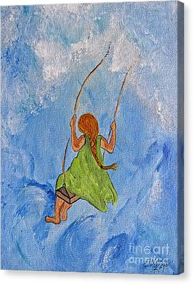 Swing High Into The Clouds - Painting Canvas Print