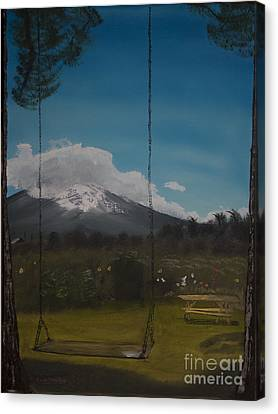 Canvas Print featuring the painting Swing On Mt Hoods Fruit Loop by Ian Donley