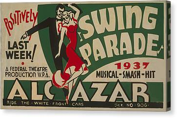 Canvas Print featuring the mixed media Swing Parade Of 1937 by American Classic Art