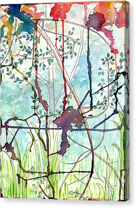 Canvas Print featuring the painting Swing Uphill Abstract by Mukta Gupta