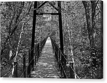 Swinging Bridge Patapsco State Park Bw Canvas Print by Andy Lawless