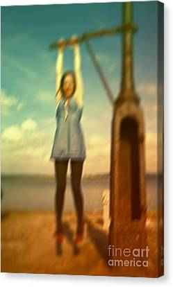 Swinging From Lampost  Canvas Print