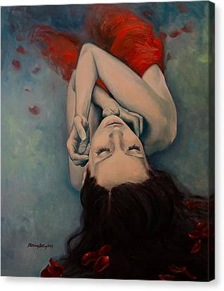 Swinging In Red Canvas Print by Dorina  Costras