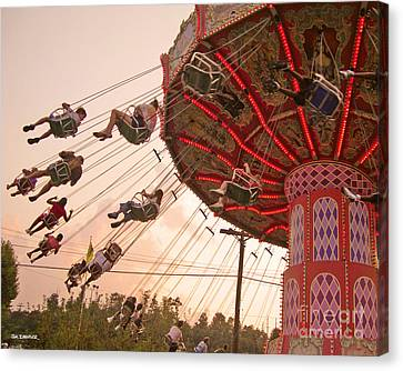 Swings At Kennywood Park Canvas Print by Carrie Zahniser