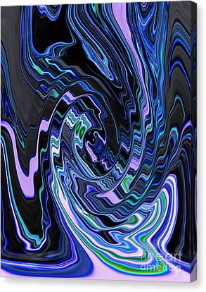 Blending Canvas Print - Swirl Spiral Of Blue And Black Abstract Digital Design by Adri Turner