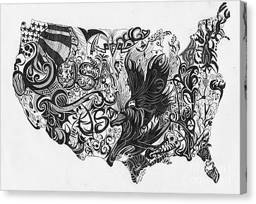 Swirlin Usa Canvas Print
