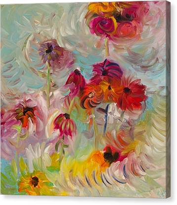 Abstracted Coneflowers Canvas Print - Swirling Flowers by Jim Tucker
