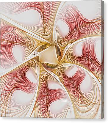 Swirls Of Red And Gold Canvas Print by Deborah Benoit