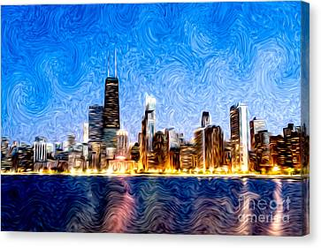 Swirly Chicago At Night Canvas Print by Paul Velgos