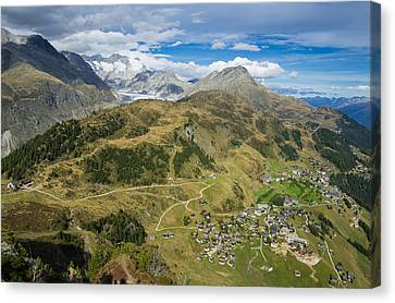 Swiss Alps Great View Towards Riederalp Aletsch Forest And Aletsch Glacier Canvas Print by Matthias Hauser