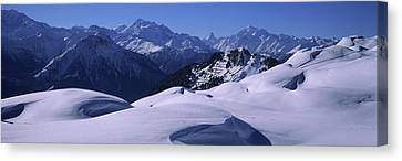 Swiss Alps In Winter, Switzerland Canvas Print by Panoramic Images