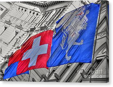 Swiss Flags  Canvas Print by Mats Silvan