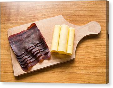 Swiss Food - Dried Meat And Cheese Canvas Print