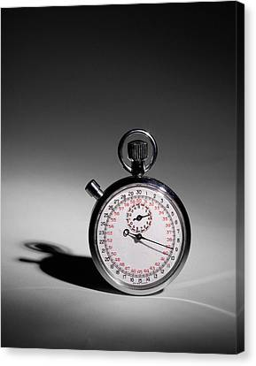 Swiss Made Stop Watch Canvas Print by David and Carol Kelly