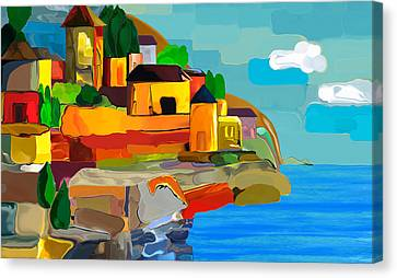 Swiss Village Canvas Print by Haleh Mahbod