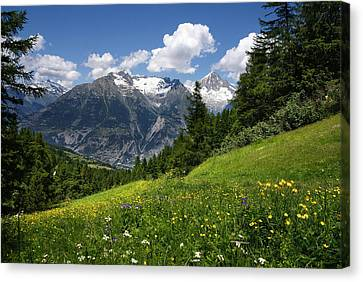 Canvas Print featuring the photograph Switzerland Bietschhorn by Annie Snel