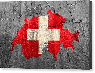Switzerland Flag Country Outline Painted On Old Cracked Cement Canvas Print by Design Turnpike