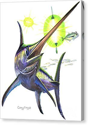 Swordfishing Canvas Print by Carey Chen