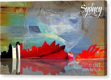 Sydney Australia Skyline Watercolor Canvas Print by Marvin Blaine