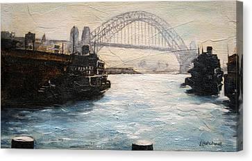 Sydney Ferry Wharves 1950's Canvas Print by Lyndsey Hatchwell