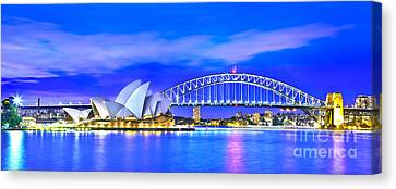Sydney Harbour Blues Panorama Canvas Print
