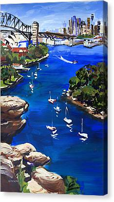 Sydney Harbour Boats Canvas Print by Shirley  Peters