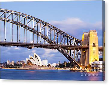Sydney Harbour Bridge And Opera House Canvas Print by Colin and Linda McKie