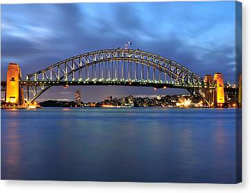 Sydney Harbour Bridge At Twilight Canvas Print by Photography  By Sai