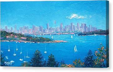 Sydney Harbour Sailing Canvas Print by Jan Matson