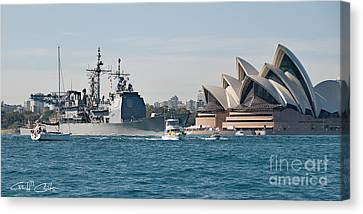 Sydney Opera House And Uss Chosin. Canvas Print