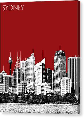 Sydney Skyline 1 - Dark Red Canvas Print by DB Artist