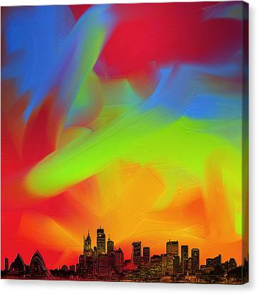 Canvas Print featuring the digital art Sydney Skyline In Oils by Andy Walsh