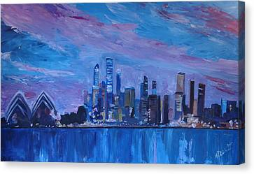 Sydney Skyline With Opera House At Dusk Canvas Print by M Bleichner