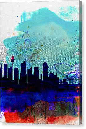 Sydney Watercolor Skyline Canvas Print