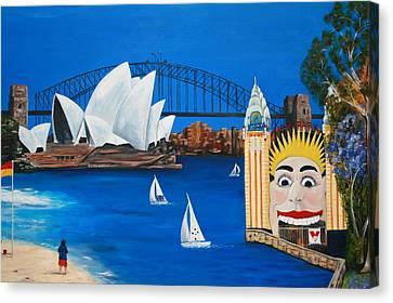 Sydneyscape - Featuring Luna Park  Canvas Print by Lyndsey Hatchwell
