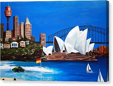 Sydneyscape - Featuring Opera House Canvas Print by Lyndsey Hatchwell
