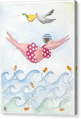 Sylvia Diving Canvas Print by Stephanie Troxell
