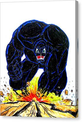 Canvas Print featuring the drawing Symbiote Guy by Justin Moore