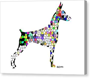 Symetry In Doberman Canvas Print by Maria C Martinez