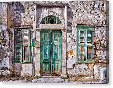 Old Houses Canvas Print - Symi by Delphimages Photo Creations