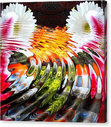 Symmetric Still Life. Flowers In The Water. 2013 80/80 Cm.  Canvas Print by Tautvydas Davainis
