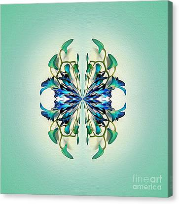 Symmetrical Orchid Art - Blues And Greens Canvas Print by Kaye Menner