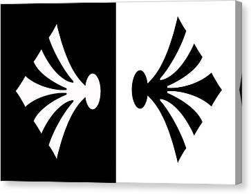 Symmetry In Black And White Digital Painting Canvas Print by Georgeta Blanaru