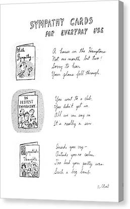 Not In Use Canvas Print - Sympathy Cards For Everyday Use by Roz Chast