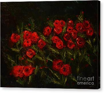 Symphony In Coquelicot Canvas Print by Denise Tomasura