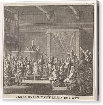Synagogue Where A Rabbi Reads, Print Maker Jan Luyken Canvas Print by Jan Luyken And Daniel Van Den Dalen And Hendrik Van Damme
