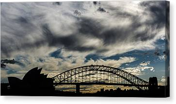 Syndey Bridge And Opera Silhouette Canvas Print by Andre Distel
