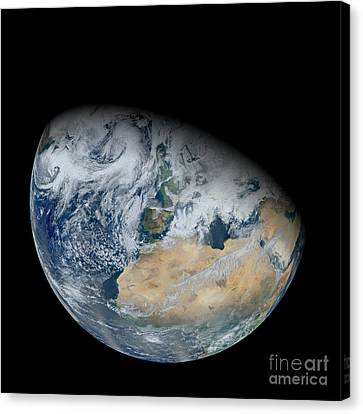 Synthesized View Of Earth Showing North Canvas Print by Stocktrek Images
