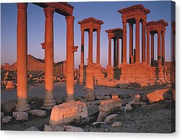 Syria, The Great Tetra Pylon At Palmyra Canvas Print by Steve Roxbury