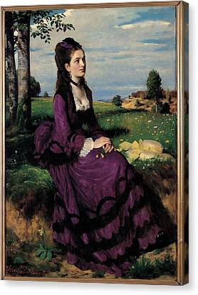 Szinyei Merse Pal, Portrait Of A Woman Canvas Print by Everett